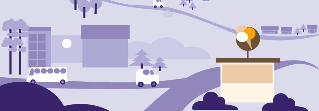 Piirretty kuva jossa maisema, autoja ja jäätelökioski