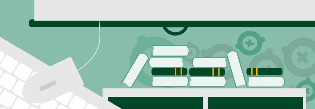 En tecknad bild av en skolklass där det syns ett tangentbord, en mus, skolböcker och en filmduk.