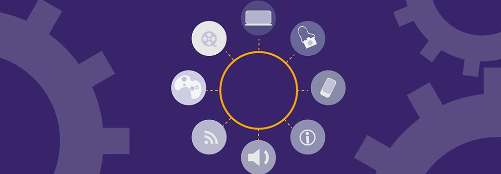 En tecknad cirkel med figurer och logon som återspeglar olika inkomster runt den.