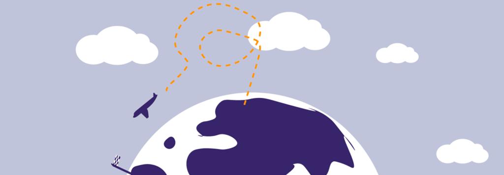 En tecknad bild med ett flygplan som kretsar runt ett jordklot.